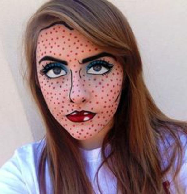 interessante-idee-für-halloween-schminken- gesicht wie eine bemalung machen