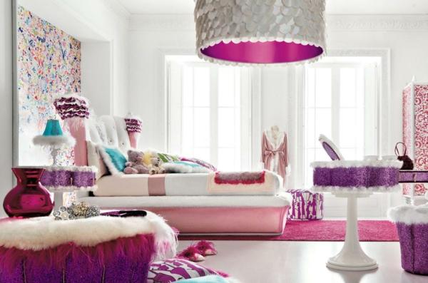 interieur-design-schlafzimmer in zyklamen farbtönungen