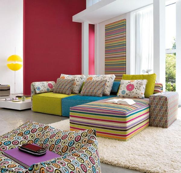 interieur-modern-bunte-möbel - wohnzimmer ausstatten