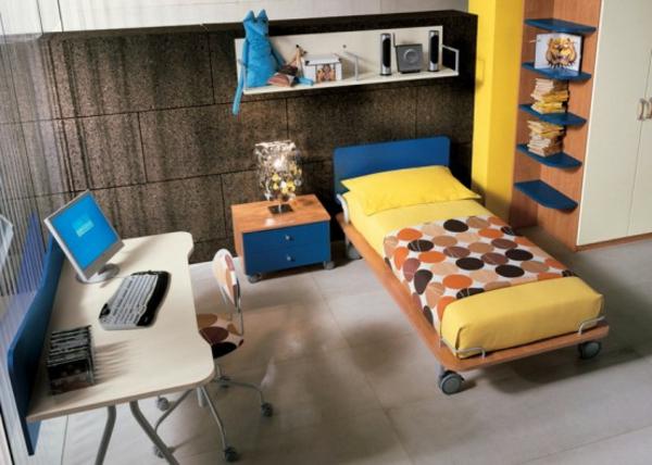 jugendzimmer-ausstatten-schreibtisch-bett-mit-gelben-bettwäschen - moderne gestaltung