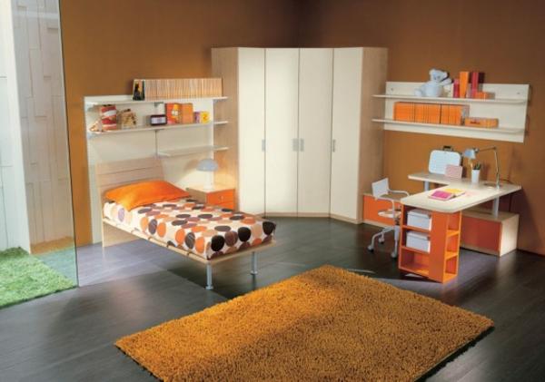 jugendzimmer-einrichten-orange-farbschemen- schrank in weiß