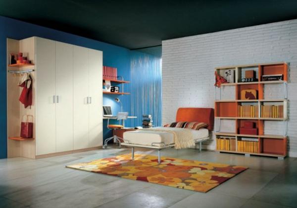 jugendzimmer-modern-gestalten -bunter teppich
