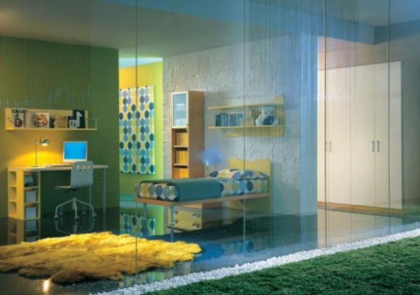 jugenzimmer-einrichten-blau-und-gelb- moderne möbel , grüne wand