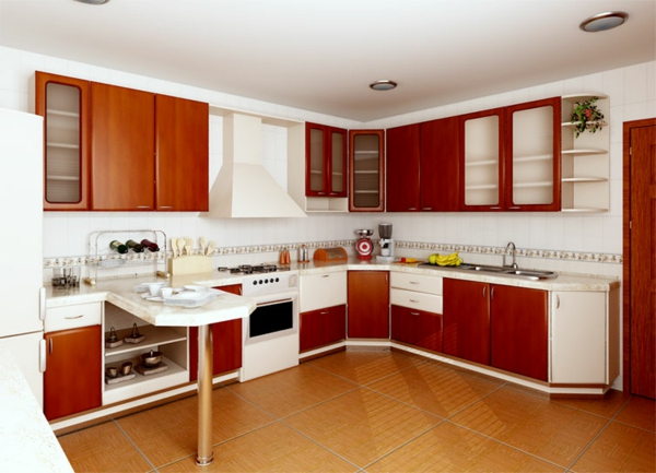 küche-in-weiß-und-rot-moderne-kombination- schöne raumgestaltung