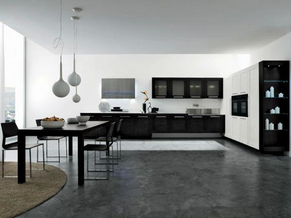küchen-interieur- esszimmer -kombiniert großer raum weiß und schwarz