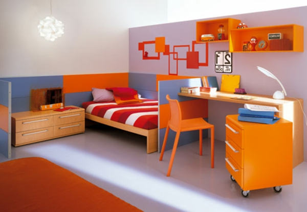 kinderzimmer einrichtung - 29 auffällige ideen - archzine.net - Wandfarbe Kinderzimmer Orange