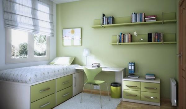 schreibtisch weiße bettwäsche und grüne wandfarbe fürs kinderzimmer