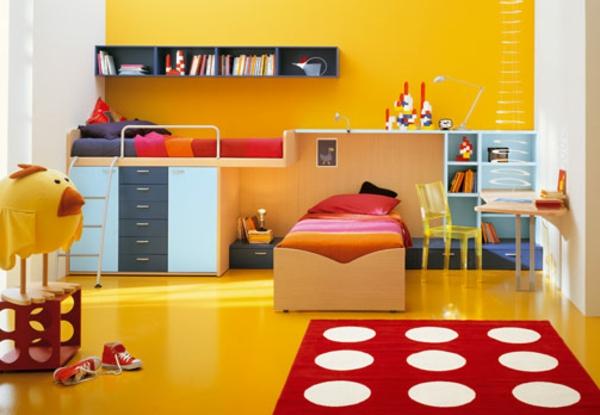 Kinderzimmer Mit Gelben Wänden Und Interessanten Möbeln