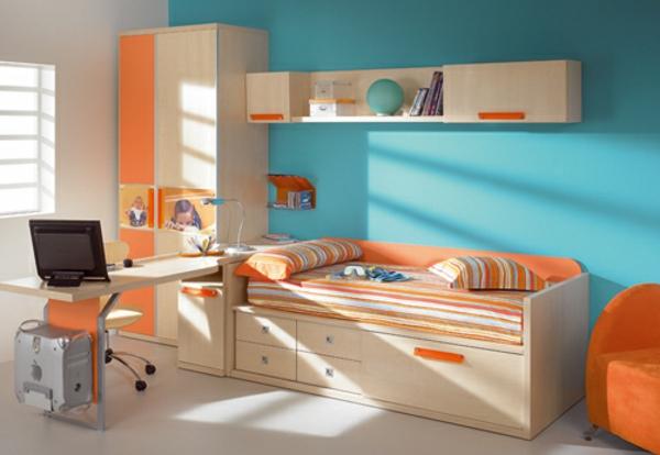 blau und orange als farben für wangestaltung im kinderzimmer verwenden