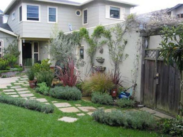 kleines-garten-eines-hauses - weg und pflanzen