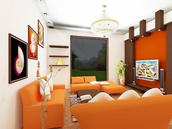 kleines-modernes-wohnzimmer-in-orange- glaswand ultramodern