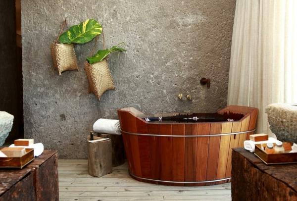 kreatives-holzdesign-badezimmer- steinwand