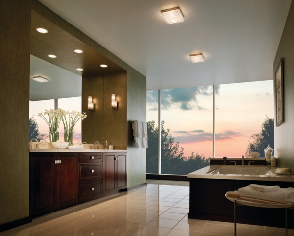 glaswand im badezimmer mit luxus beleuchnung