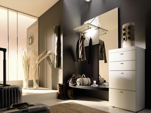 luxuriöser-flur-mit-dunklen-wänden und einer glaswand