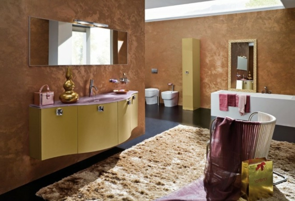 luxuriöses-badezimmer-braune-farbe, schöne atmosphäre