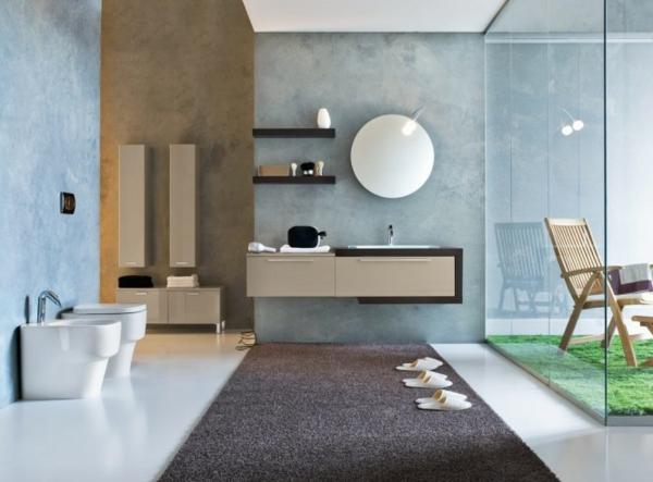 luxuriösiches-badezimmer mit einem brauen teppich