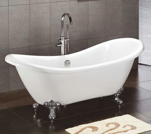 luxus-badezimmer-weiße-badewanne -graue fliesen