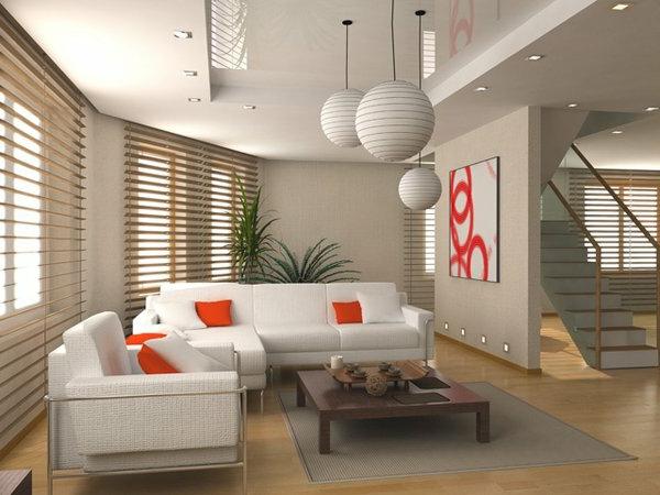 wohnzimmer deckengestaltung - modern mit weißen kugeln als ...