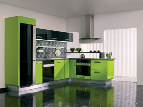 moderne-küche-in-grün-gestalten- weiße wände