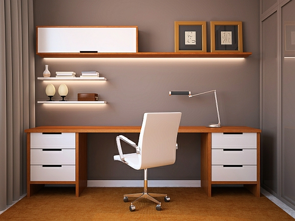 moderne-möbel-im-arbeitszimmer mit schlichter beleuchnung