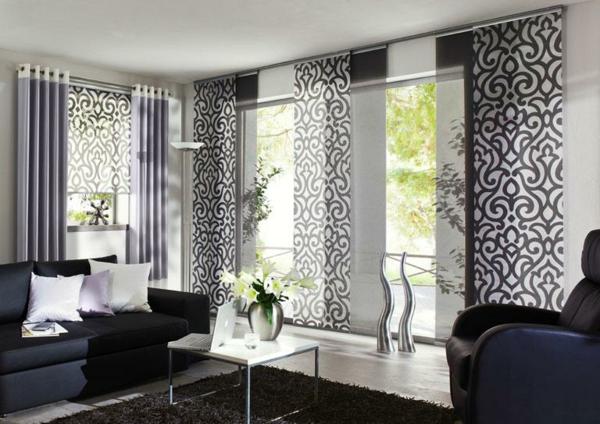 moderne-schiebevorhänge-fürs-wohnzimmer- weiß und schwarz