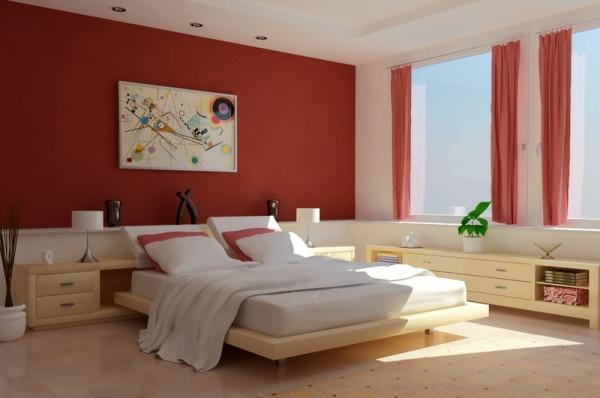 Schlafzimmerwand mit blauem Anstrich erfrischend und kühlend
