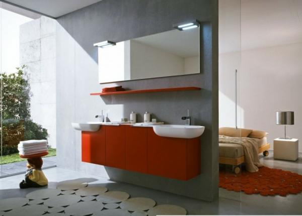 10. Modernes Bad Grau Rote Möbel