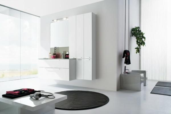 modernes-bad-weiße-gestaltung und ein elegantes schwarzes teppich