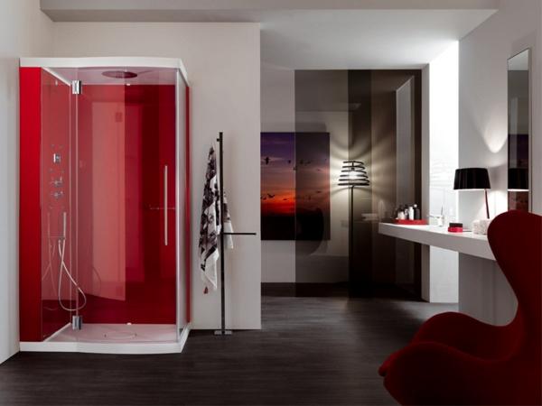 modernes-badezimmer-rote-duschkabine- und elegante raumgestaltung