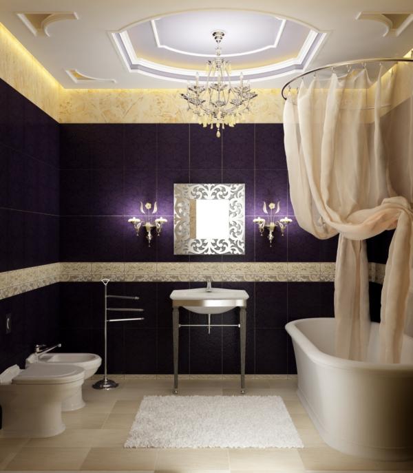 modernes-badezimmer mit lila fliesen
