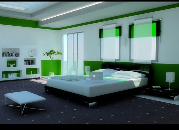 modernes-schlafzimmer-in-grün- sehr moderne gestaltung