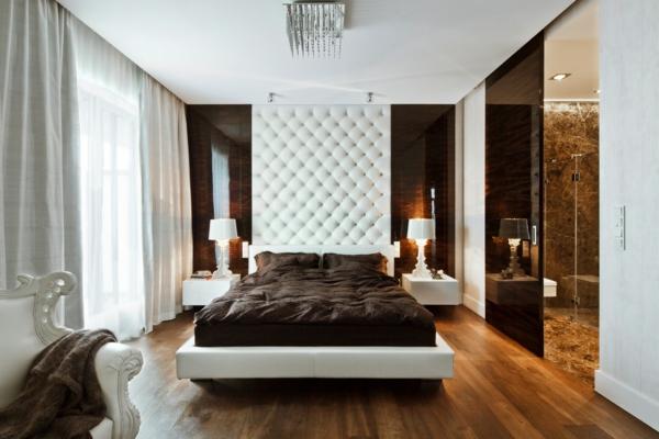modernes-schlafzimmer-luxus-bett- kronleuchter aus glas