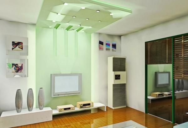 grüne licht im modernen wohnzimmer