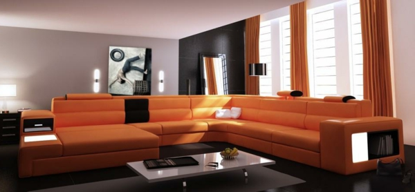 Eckcouch modern braun  Awesome Wohnzimmer Braun Orange Pictures - House Design Ideas ...