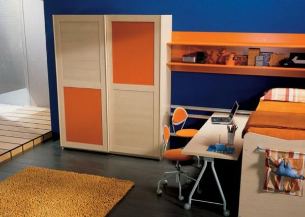 orange-farben-im-jugendzimmer- interessantes modell vom schrank