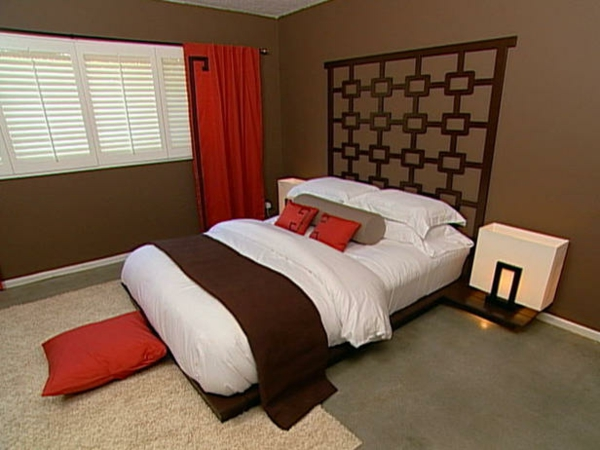weiße rote und ockra farbe für eine moderne schlafzimmer ausstattung im orientalischen stil