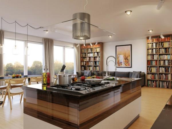 riesige-moderne-küche-bücherregale- interessante gestaltung