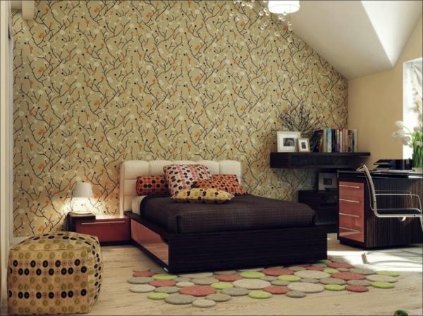 Tapeten Kombinationen Schlafzimmer : malerschablone an der wand in ockra farbe f?rs luxus schlafzimmer