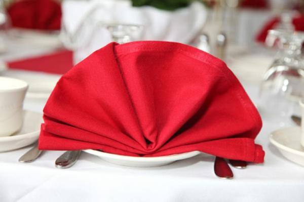 weißes geschirr und rote serviette