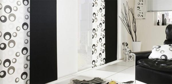 schiebenvorhänge- weiß und schwarz kombinieren