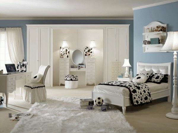 schlafzimmer-design-für-frauen - weiß mit schwarz kombinieren