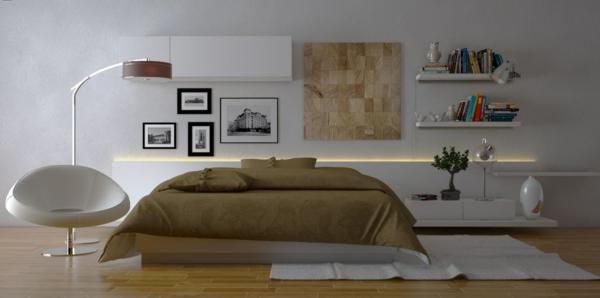 schlafzimmer-design-ockra-weiße-farbe- weißer sessel