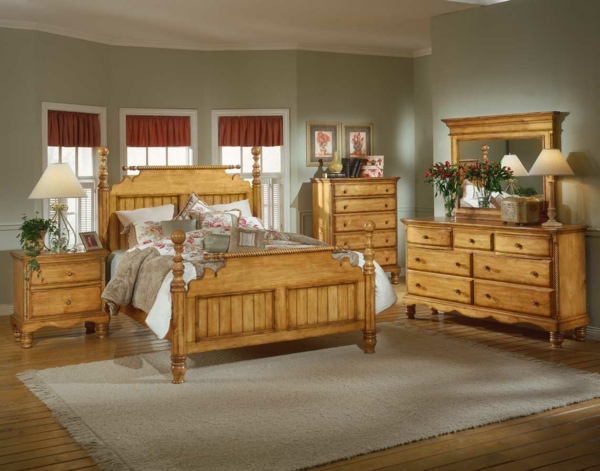 schlafzimmer-holz-interessante-gestaltung- ockra teppich