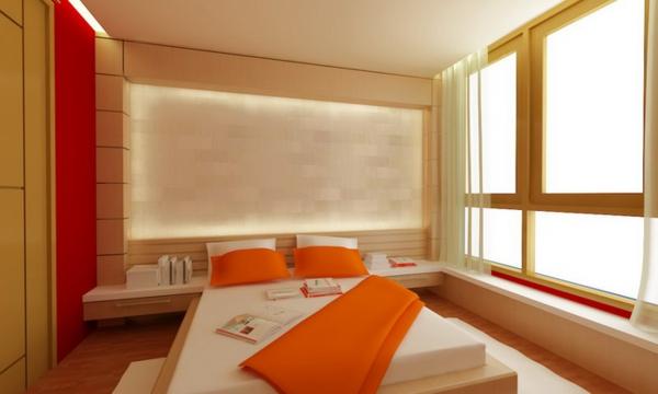 schlafzimmer-im-asiatischen-stil-orange-akzente- warme wandfarben
