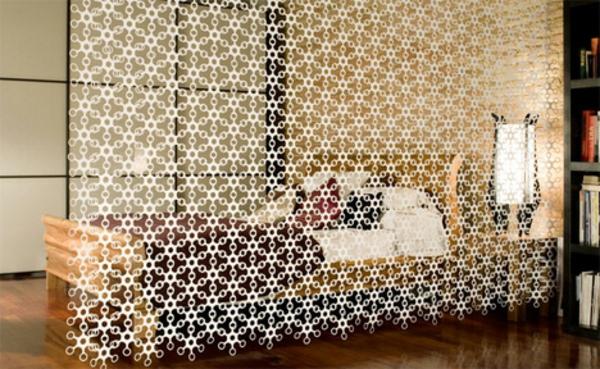 schlafzimmer-interessante-vorhänge-raumteilung- interessantes design