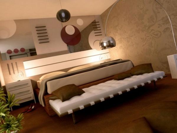 schlafzimmer mit extravagantem design und moderner beleuchnung