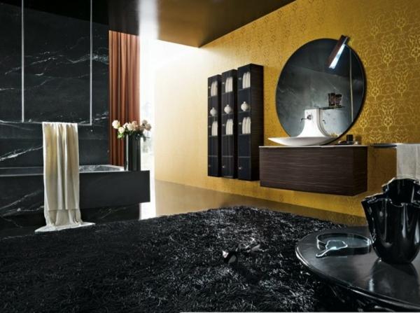 schwarzes-badezimmer mit eleganten elementen in schwarz