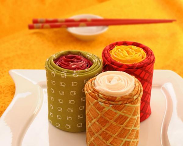 warme farbtönungen - sushi - servietten falten