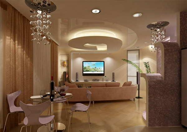 Aristokratische Wohnung Mit Origineller Deckenverkleidung In Beige Wohnzimmer Aufbewahrung Fr Decken