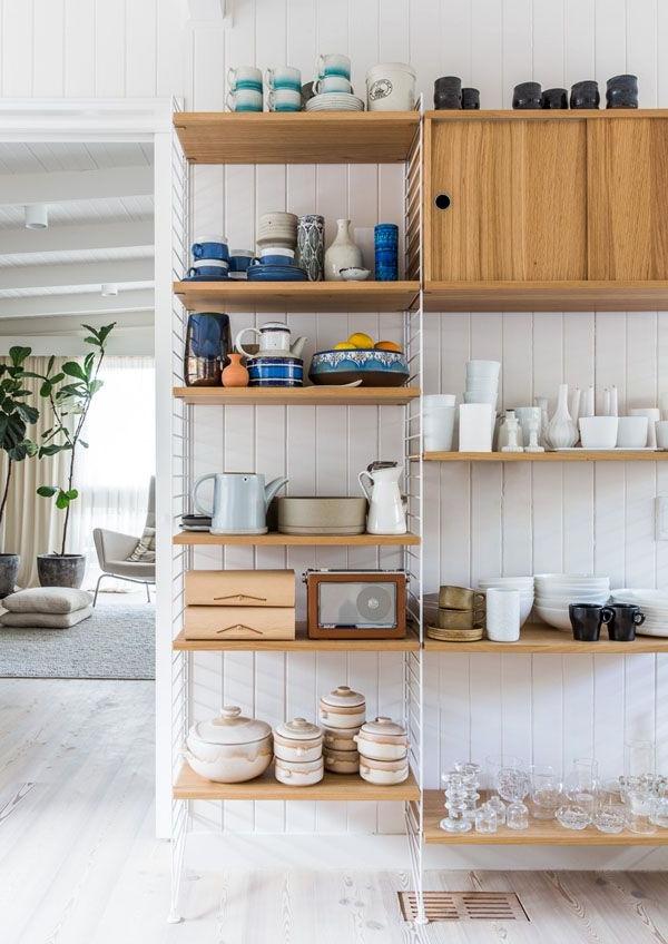 kombiniertes material für drahtregale in der küche